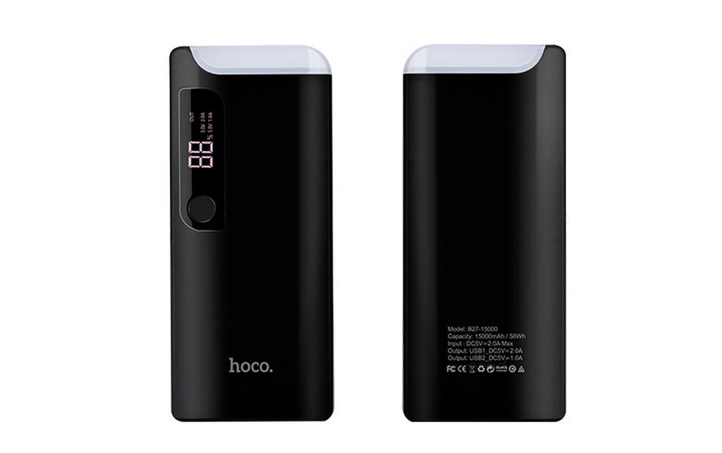 Power Bank Hoco B27 PuSi 15000 mAh με Θύρα USB Επιτραπέζιο Φακό και Ψηφιακή Ένδειξη Μαύρο