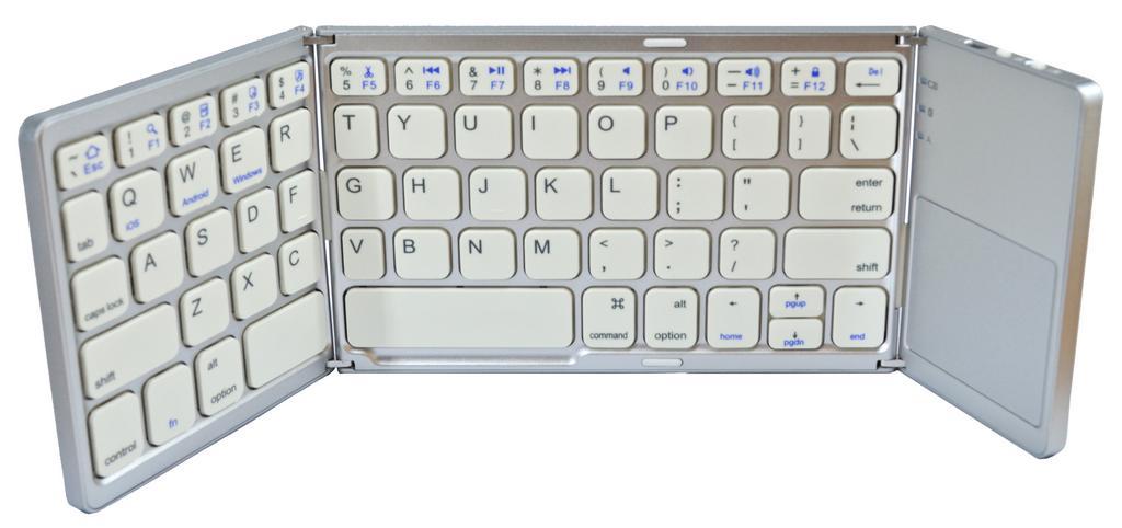 Πληκτρολόγιο Mini Bluetooth Mobilis B033 Foldable με Touchpad, συμβατό με Smartphone, Tablet, PC και SmartTV Ασημί - Λευκό