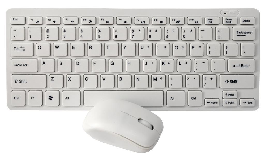 Πληκτρολόγιο Wireless Mobilis Mini Keyboard με Ασύρματο Ποντίκι 3 Κουμπιών Λευκό