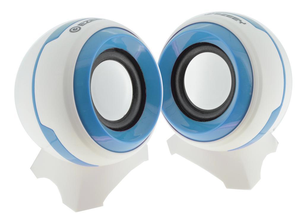 Ηχείο Stereo Multimedia Ezeey Q8 με σύνδεση 3.5mm και USB φόρτιση, 3W x 2, Λευκό - Μπλέ