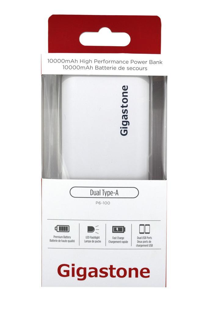 Power Bank Gigastone P6-100 10000mAh με Διπλή USB Έξοδο, με LED Ενδείξεις και Φακό. Άσπρο