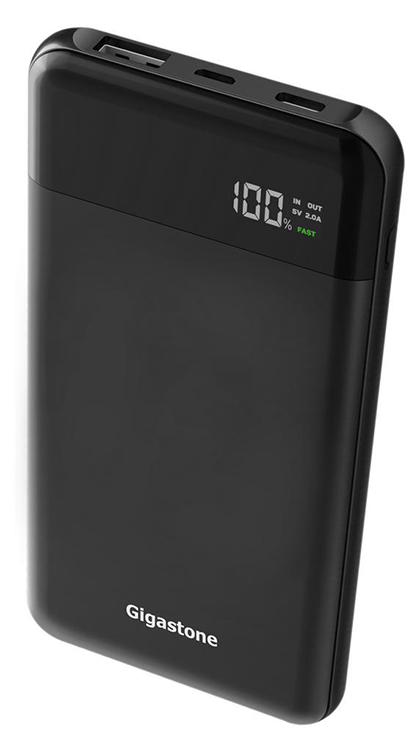 Power Bank Gigastone PB-8110B 10000mAh Fast Charging 5V με Έξοδο USB-A, USB-C, LCD Ενδείξεις και Ελαστικό Περίβλημα. Μαύρο