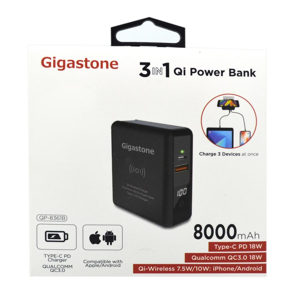 Φορτιστής - Power Bank - Qi-Wireless Charging Gigastone QP-8361B 8000mAh 3 σε 1, με Έξοδο USB, Type-C, LCD Ενδείξεις 18W για MacBook, PC Notebook, iOS & Android. Μαύρο