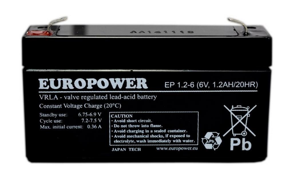 Μπαταρία για UPS Europower (6V 1.2Ah) 300g 56x97x25mm