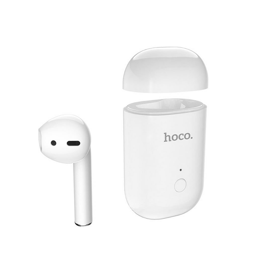 Wireless Mono Headset Hoco E39 Admire Sound (δεξί) Λευκό με μαύρη θήκη σιλικόνης