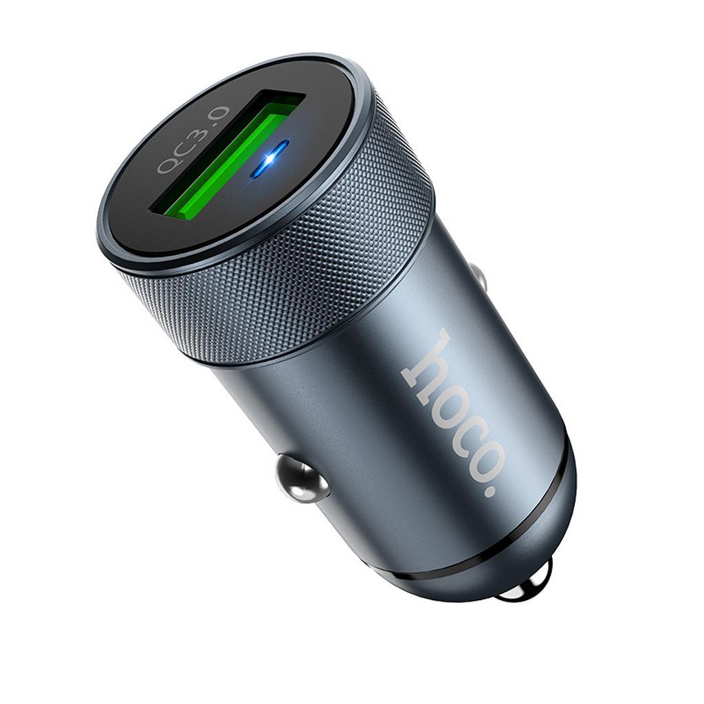 Φορτιστής Αυτοκινήτου Hoco Z32 Speed Up Single USB QC3.0 Fast Charging 3A 18W Μεταλλικό Γκρι