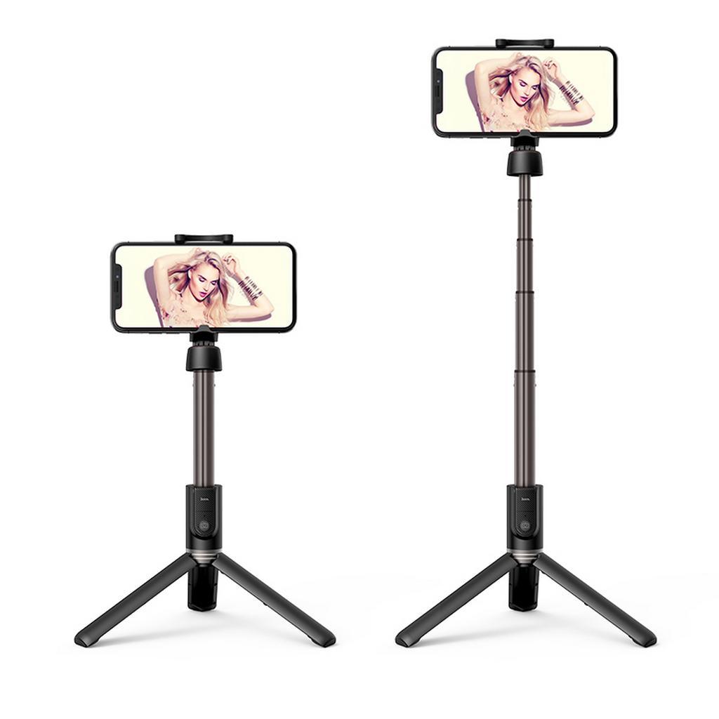 Selfie Stick Hoco K11 Wireless Πτυσσόμενο Μαύρο με Βάση Τρίποδο 68cm