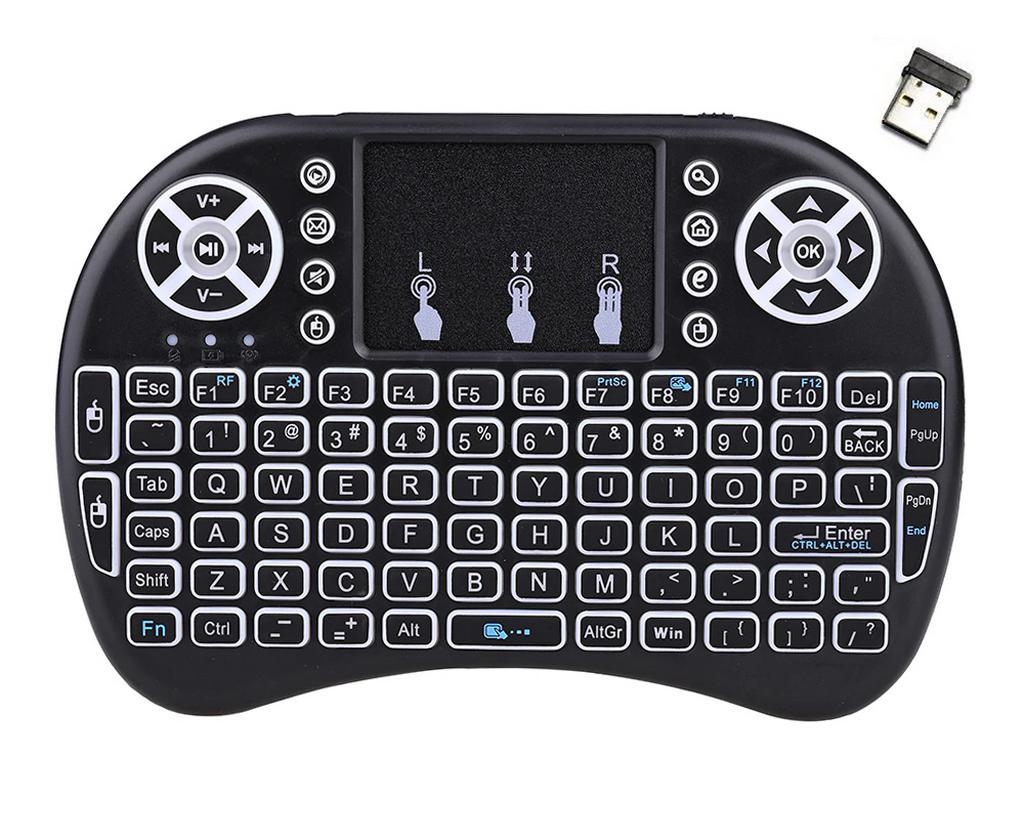 Πληκτρολόγιο και Τηλεχειριστήριο Wireless Keywin Mini Rii i8+ με Backlit για Smartphone, Tablet, PC, και SmartTV Μαύρο