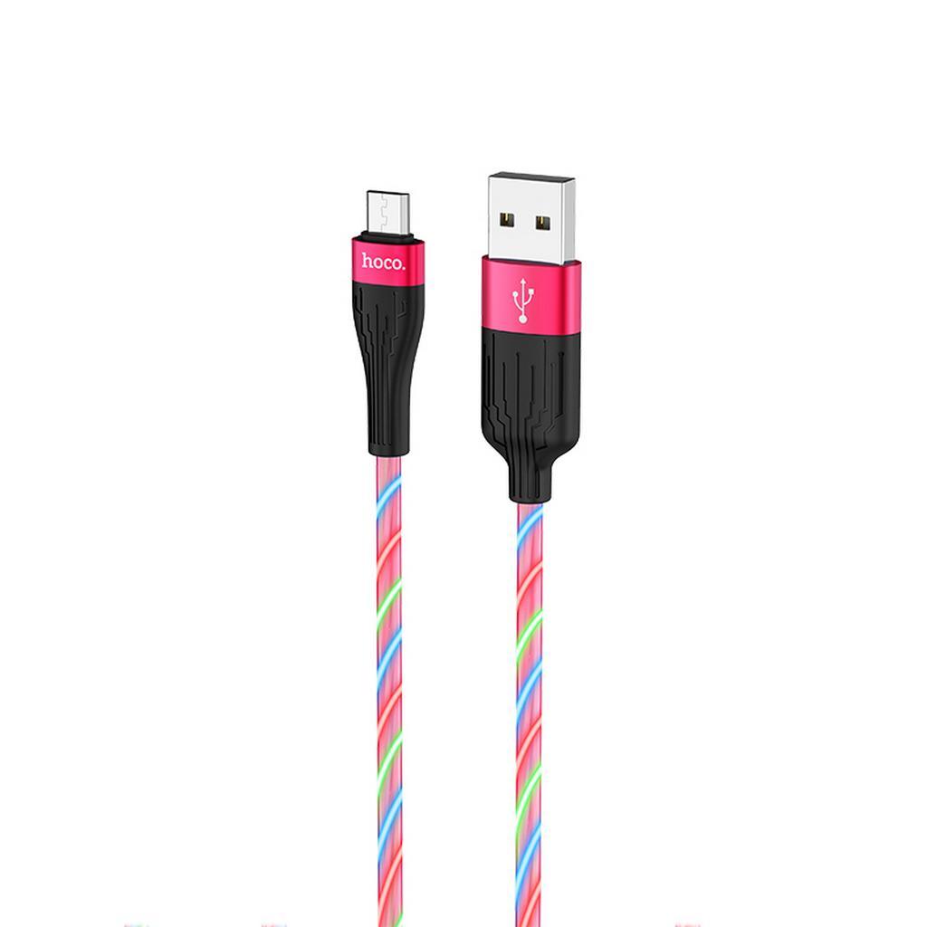 Καλώδιο σύνδεσης Hoco U85 Charming night USB σε Micro-USB 2.4A Φωσφορίζον Κόκκινο 1μ.