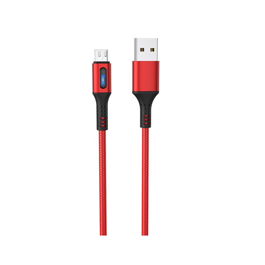 Καλώδιο σύνδεσης Hoco U79 AdmirableSmart Power Off USB σε Micro-USB 2.4A 1.2μ Κόκκινο με LED Ένδειξη