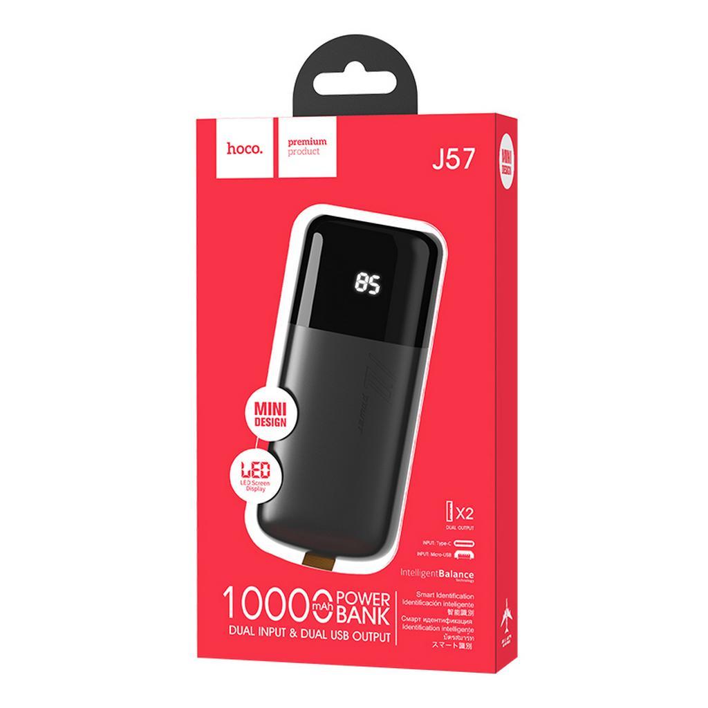 Power Bank Hoco J57 Excellent NRG 10000mAh Dual USB και USB-C / Micro-USB Input 2.0A και ένδειξη LED Μαύρο