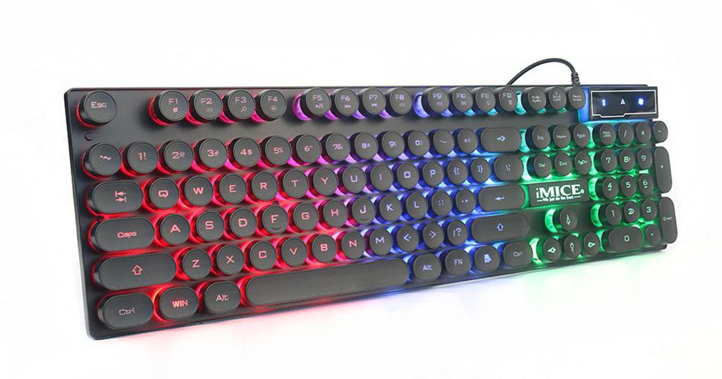 Πληκτρολόγιο Ενσύρματο Μηχανικό iMICE AK-800 USB Φωτιζόμενο με Τρίχρωμο LED Effect, 104 Πλήκτρων Πολυμεσικό. Μαύρο