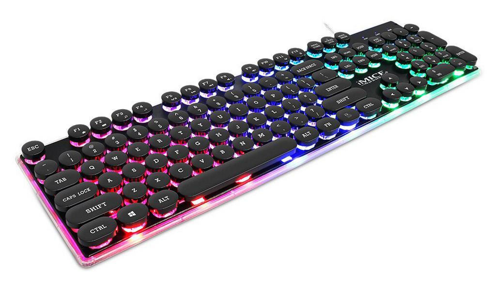 Πληκτρολόγιο Ενσύρματο Μηχανικό iMICE AK-700 USB Φωτιζόμενο με Rainbow LED Effect, 104 Πλήκτρων Πολυμεσικό και Gaming. Μαύρο