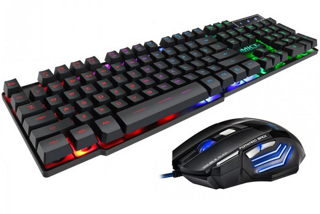Πληκτρολόγιο και Ποντίκι Ενσύρματα iMICE AN-300 USB με LED Φωτισμό, Gaming Πολυμεσικό Πληκτρολόγιο και 7D Ποντίκι. Μαύρο