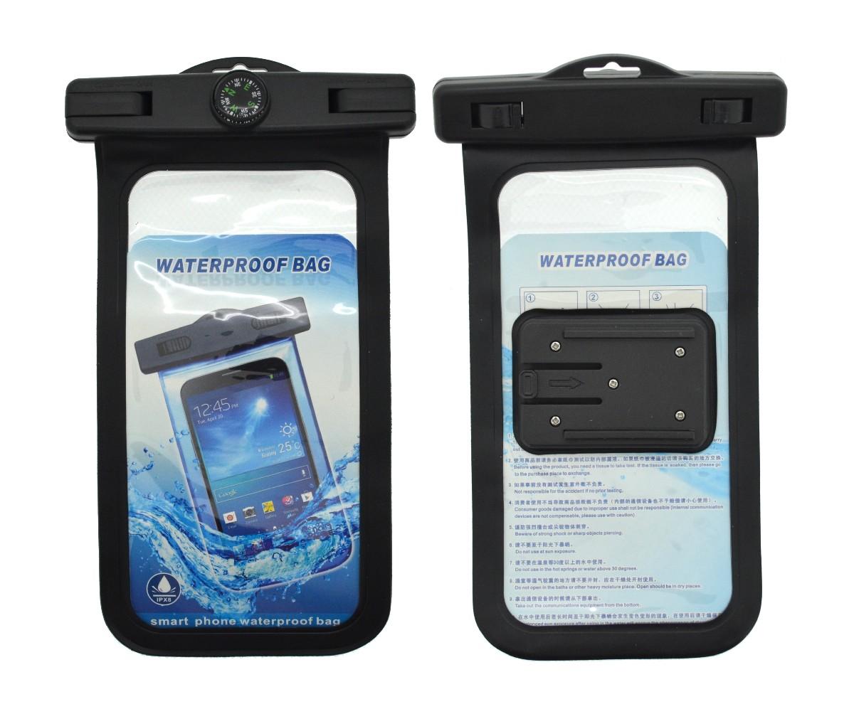 """Θήκη Αδιάβροχη και Bluetooth Selfie Stick Ancus για Κινητά από 4""""-7"""" με Πυξίδα και Παρελκόμενα Μαύρη"""
