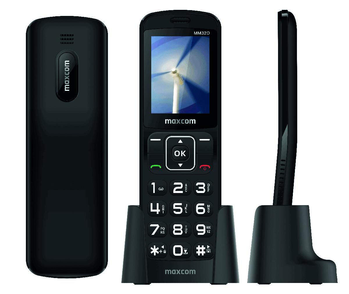 "Maxcom MM32D 2.4"" με Μεγάλα Πλήκτρα, Ραδιόφωνο και Βάση Φόρτισης Μαύρο"