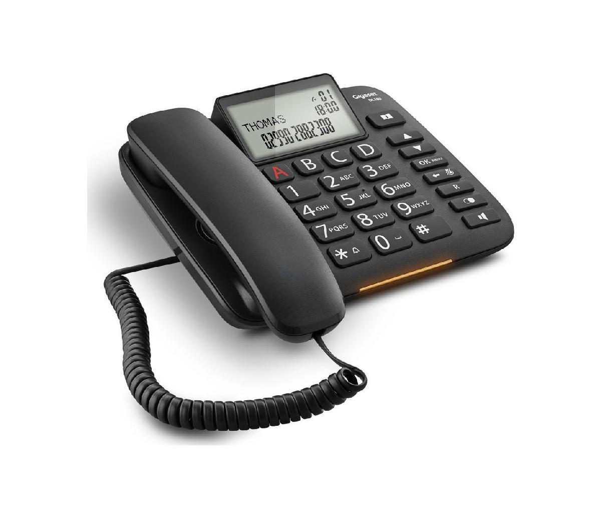 Σταθερό Ψηφιακό Τηλέφωνο Gigaset DL380  Μαύρο με Μεγάλη και Ευανάγνωστη Οθόνη S30350-S217-K101