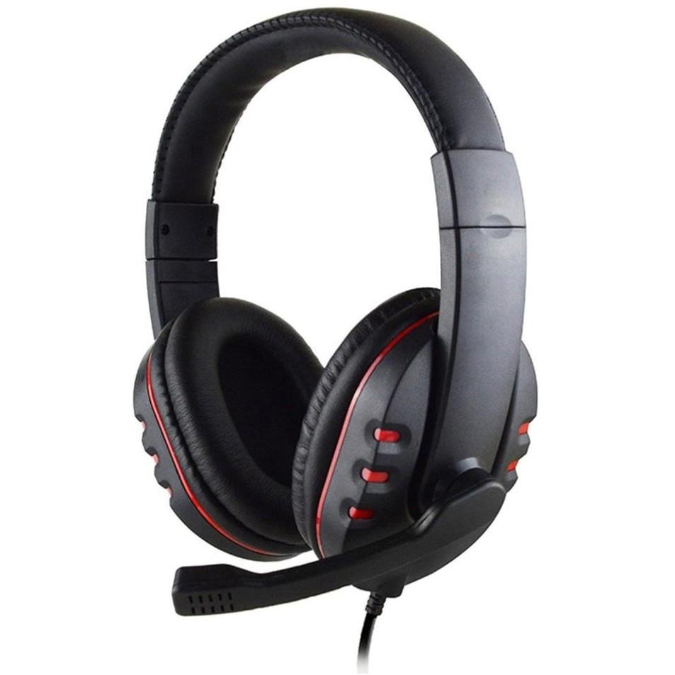 Ακουστικά Stereo Noozy GH-35 διπλού κονέκτορα 3.5mm για Gamers με Μικρόφωνο και Ρύθμιση Έντασης Ήχου Μαύρα-Κόκκινα
