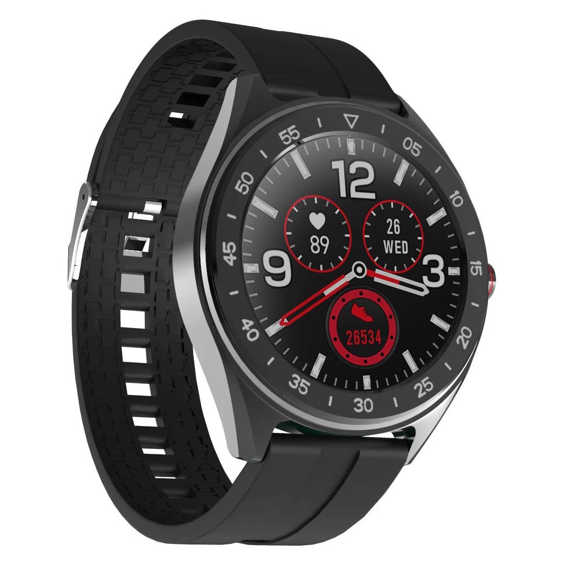 "Smartwatch Lenovo R1 IP68 280mAh V4.0 All Touch 1.3"" Μαύρο Silicon Band με Επιπλέον λουράκι και προσόψεις"