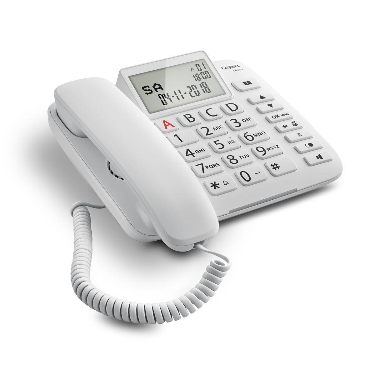 Σταθερό Ψηφιακό Τηλέφωνο Gigaset DL380  Άσπρο με Μεγάλη και Ευανάγνωστη Οθόνη S30350-S217-K102