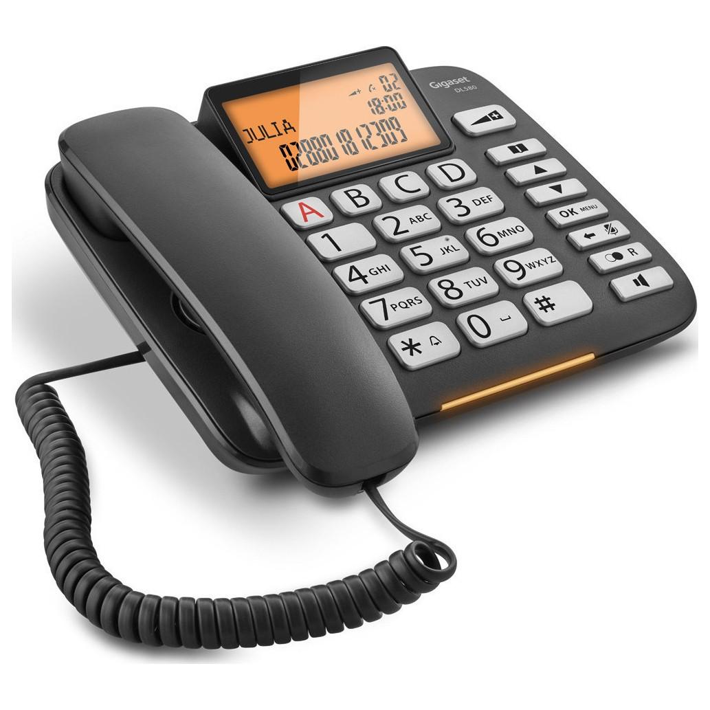Σταθερό Ψηφιακό Τηλέφωνο Gigaset DL580  Μαύρο με Μεγάλη και Ευανάγνωστη Οθόνη S30350-S216-K101