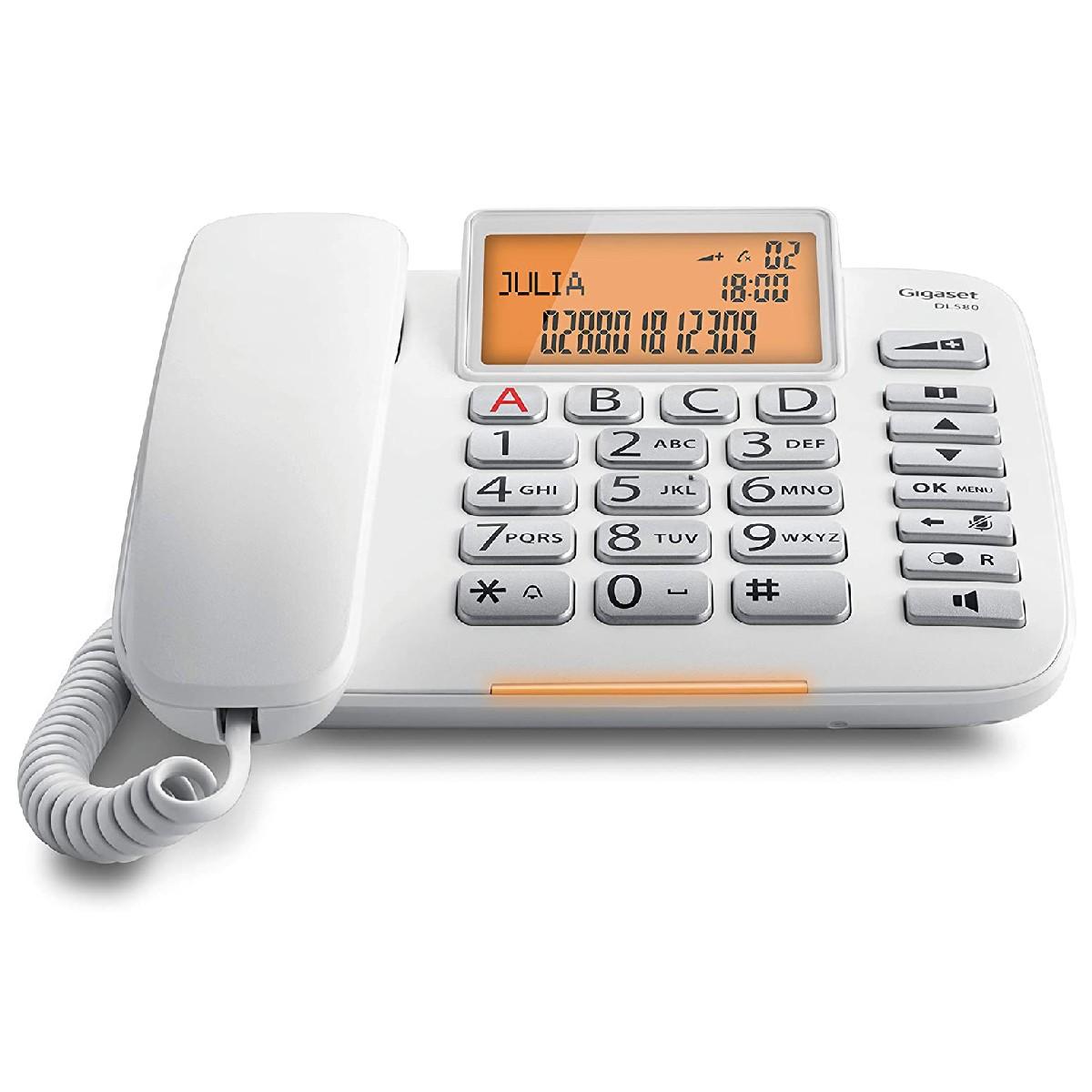 Σταθερό Ψηφιακό Τηλέφωνο Gigaset DL580  Λευκό με Μεγάλη και Ευανάγνωστη Οθόνη S30350-S216-K102