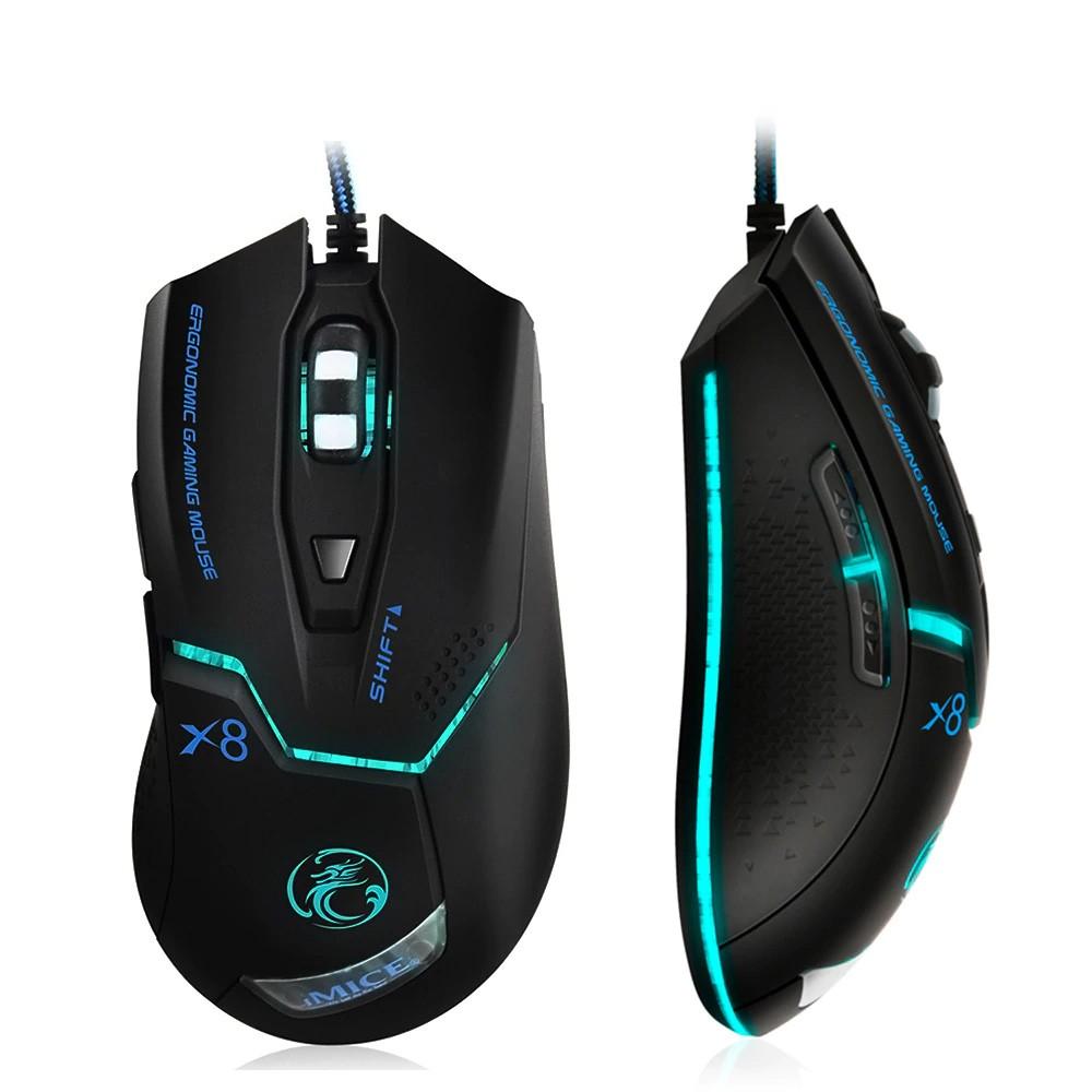 Ενσύρματο Ποντίκι iMICE X8 Gaming 6D με 6 Πλήκτρα, 3600 DPI, Ροδέλα Αντιολίσθησης και LED Φωτισμό. Μαύρο