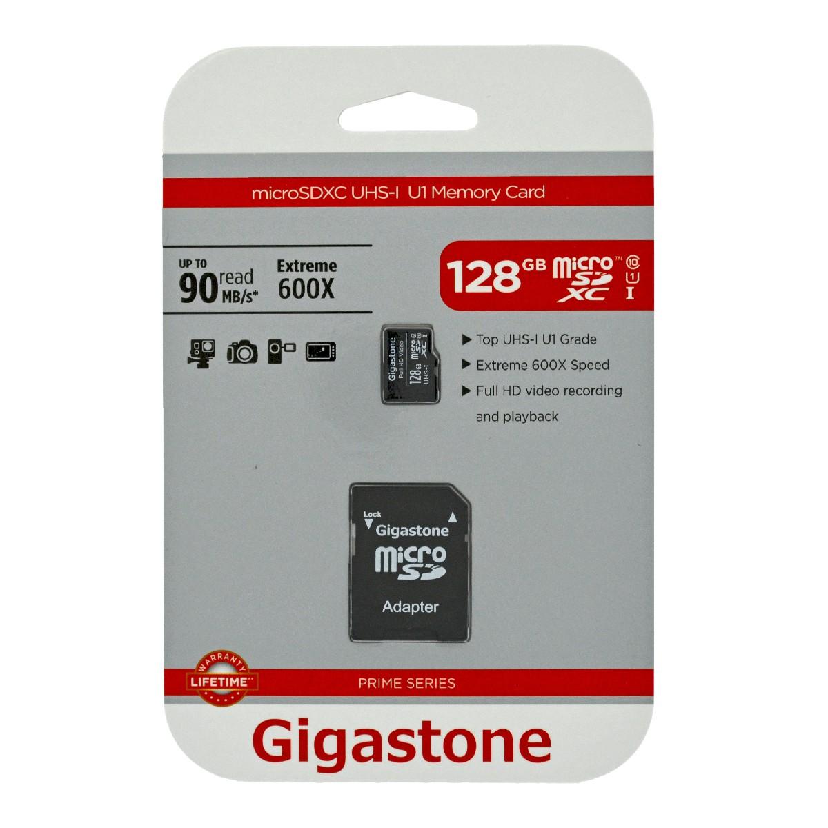 Κάρτα Μνήμης Gigastone MicroSDXC UHS-1 128GB C10 Prime Series με SD Αντάπτορα up to 90 MB/s