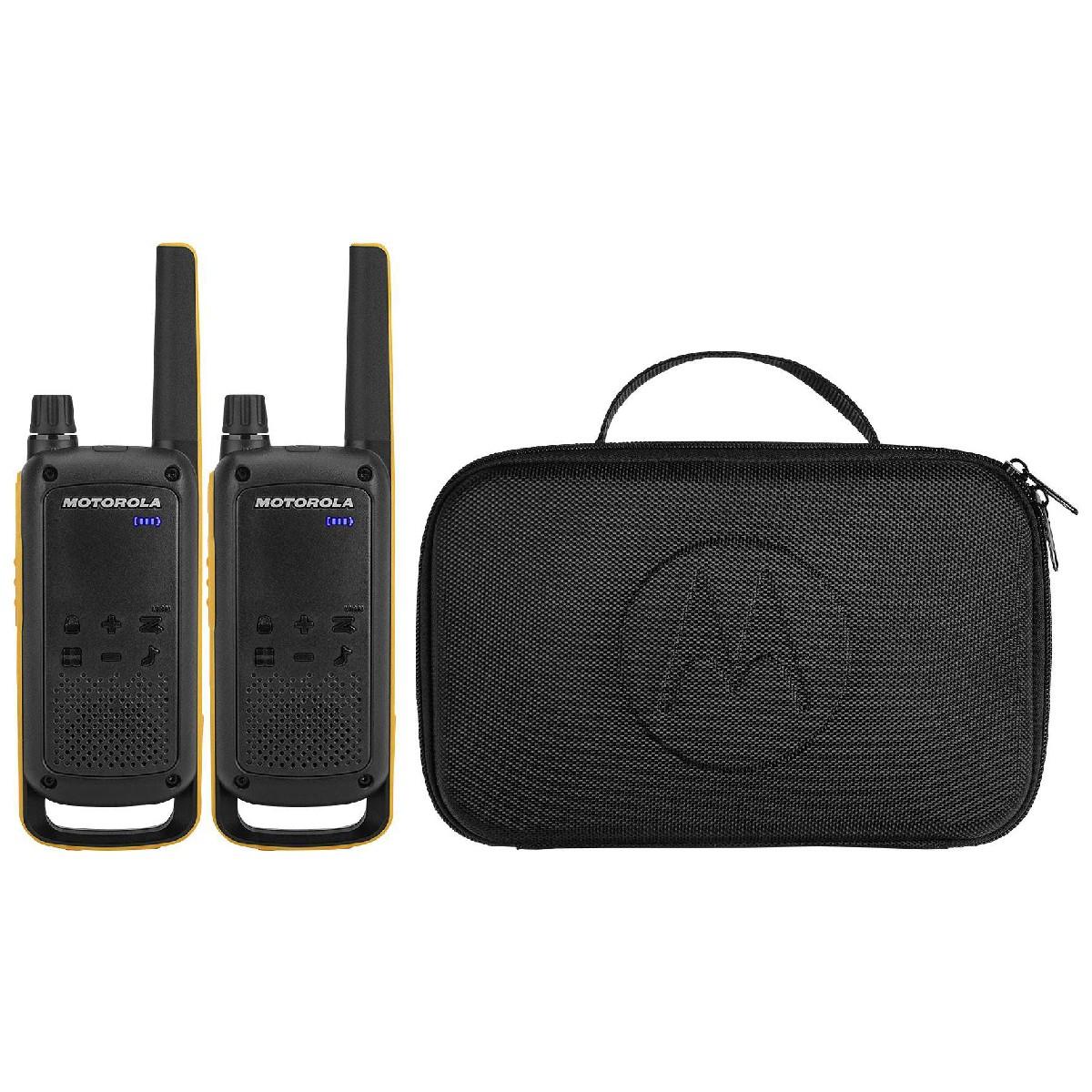 Walkie Talkie Motorola Go Beyond PMR T82 Extreme IPX4 Μαύρο με Φακό Led και Υποδοχή Hands Free.  Εύρος Κάλυψης 10 km