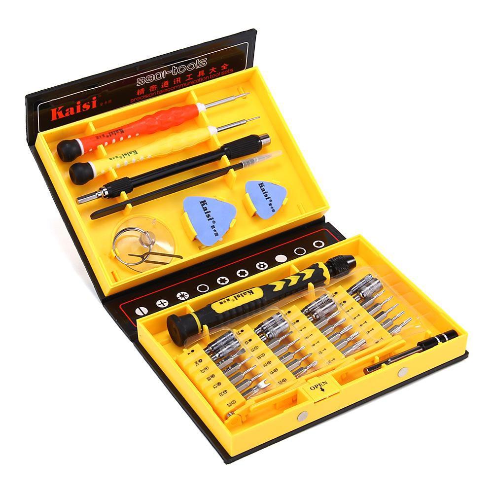 Εργαλεία Επισκευής Kaisi KS-3801 Σετ 38 Τεμαχίων με Εύχρηστο Κουτί Αποθήκευσης και Μεταφοράς Μαύρο-Κίτρινο