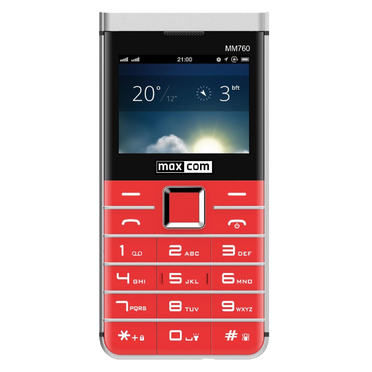 "Maxcom MM760 Dual SIM 2.3"" με Μεγάλα Πλήκτρα, Bluetooth, Κάμερα και Λεπτό Μεταλλικο Σχεδιασμό Κόκκινο"