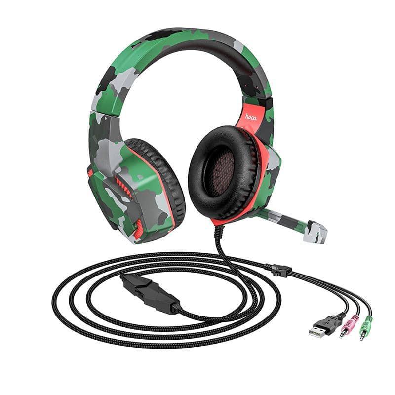 Ακουστικά Stereo Gaming Hoco 3.5mm με Μικρόφωνο, Ρύθμιση Έντασης Ήχου, LED Φωτισμό και Τριπλό Κονέκτορα Πράσινο Παραλλαγής