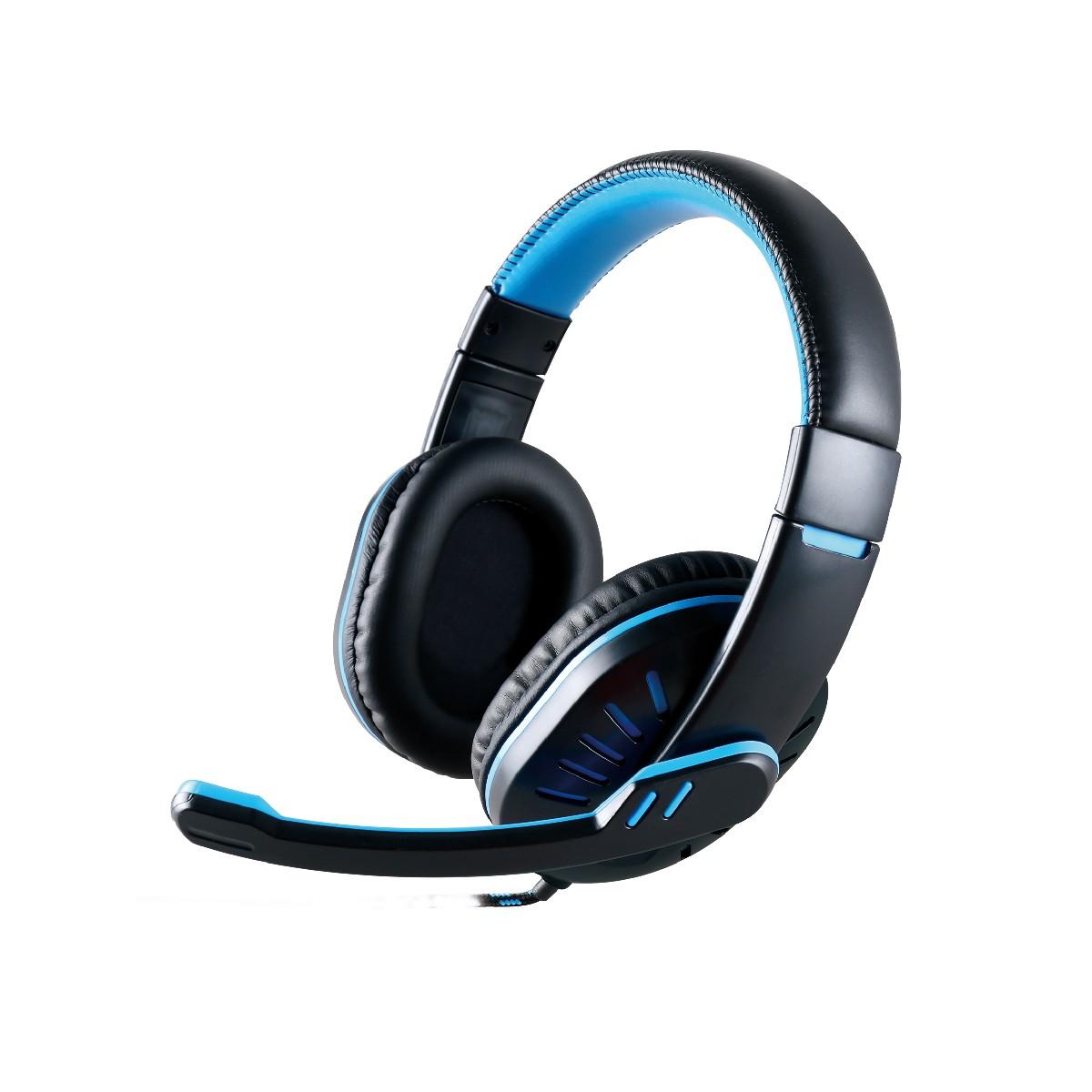 Ακουστικά Stereo Noozy GH-35 διπλού κονέκτορα 3.5mm για Gamers με Μικρόφωνο και Ρύθμιση Έντασης Ήχου Μαύρα-Μπλε
