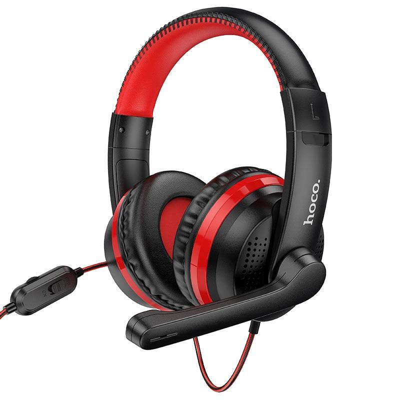 Ακουστικά Stereo Gaming Hoco W103 Magic Tour με 3.5mm Κονέκτορα και Μικρόφωνο με Διακόπτη Ενεργοποίησης Κόκκινα