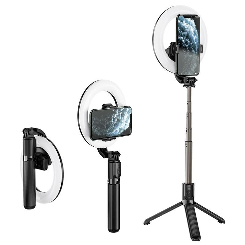 """Βάση Στήριξης και Selfie Stick Hoco LV03 Showfull για Συσκευές 4.7""""-6.5"""" με Περιμετρικό Φωτισμό Μαύρη και Τηλεχειρισμό"""