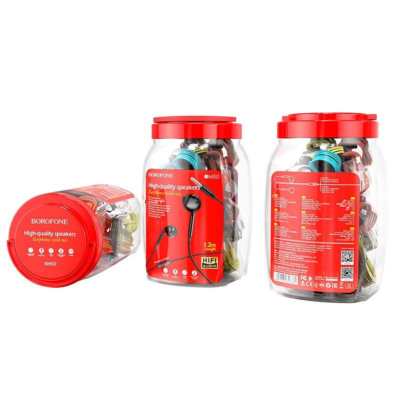 Hands Free Borofone BM50 Earphones Stereo 3.5mm  με Μικρόφωνο, Πλήκτρο Λειτουργίας 1.2μ Σετ 60 τμχ. με Διάφορα Χρώματα