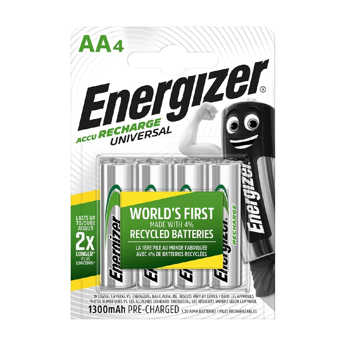 Μπαταρία Επαναφορτιζόμενη Energizer ACCU Recharge Universal 1300 mAh size AA 1.2V Τεμ. 4