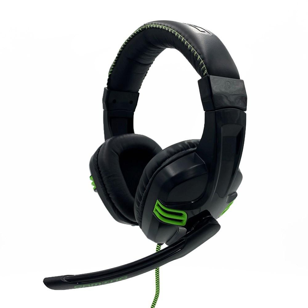 Ακουστικά Stereo Media-Tech COBRA PRO OUTBREAK MT3602 Διπλό Κονέκτορα 3.5mm για Gamers με Μικρόφωνο και 2 Μέτρα Καλώδιο Κορδόνι. Μαύρο-Πράσινο