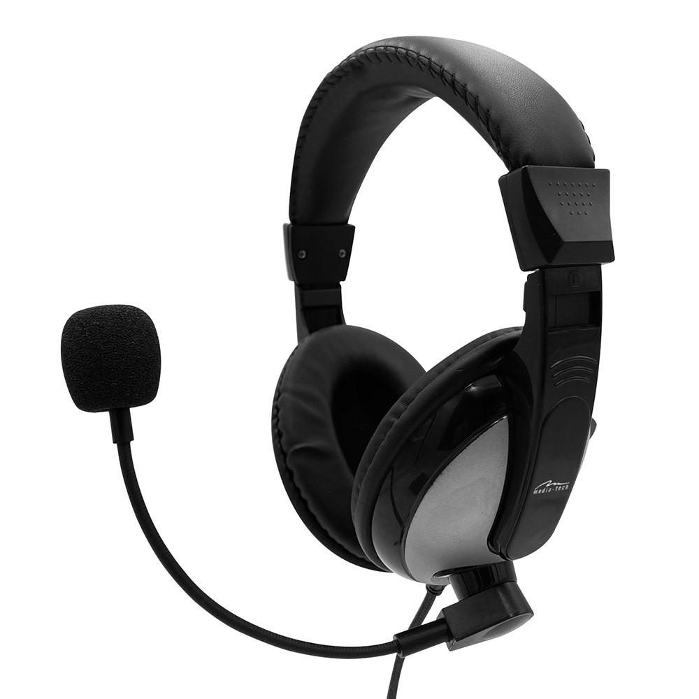 Ακουστικά Stereo Media-Tech TURDUS PRO MT3603 με Διπλό Κονέκτορα 3.5mm και Ρυθμιζόμενο Μικρόφωνο. Μαύρο