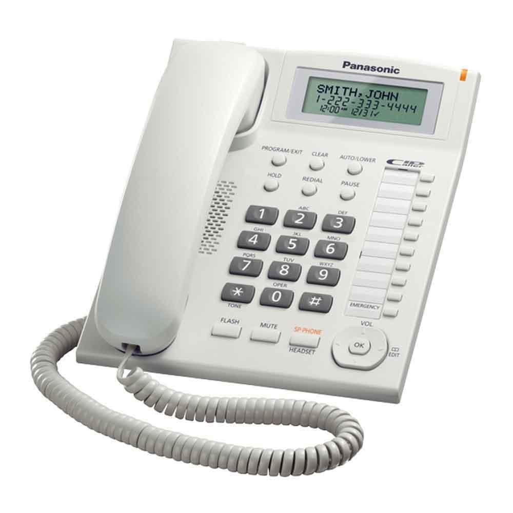 Σταθερό Ψηφιακό Τηλέφωνο Panasonic KX-TS880FXW Λευκό Υποδοχή Hands Free 2.5mm