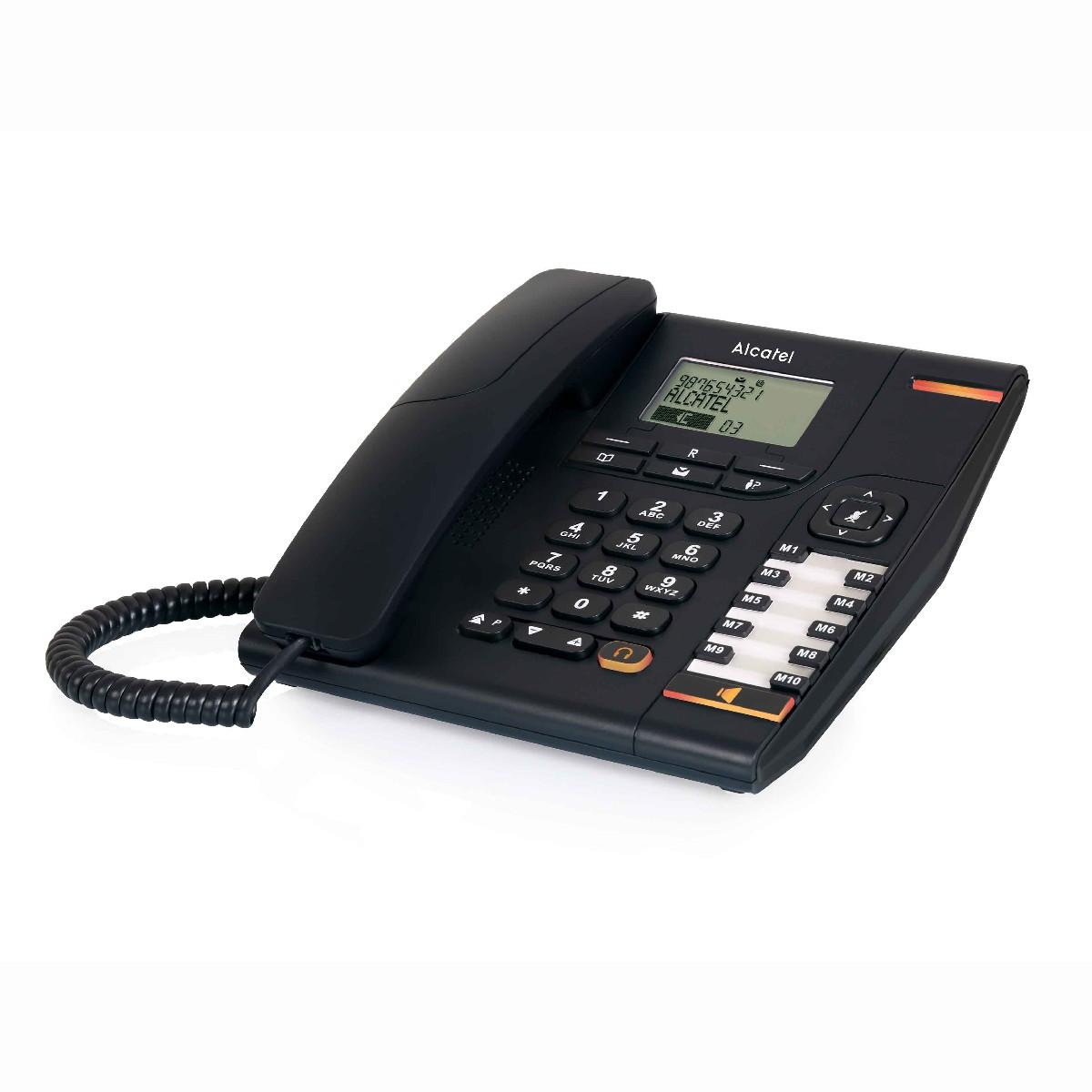 Σταθερό Ψηφιακό Τηλέφωνο Alcatel Temporis 880 Μαύρο, με Μεγάλη  Οθόνη, Ανοιχτή Ακρόαση και Υποδοχή Σύνδεσης Ακουστικού Κεφαλής (RJ9)