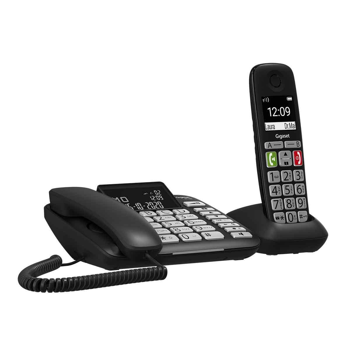 Gigaset DL780 Plus Σταθερό Ψηφιακό Τηλέφωνο + Ασύρματο Ψηφιακό Τηλέφωνο Μαύρο  με Υποδοχή Hands-Free