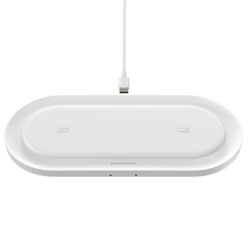 Wireless Charger Borofone BQ7 Prominent Διπλή Φόρτιση Συνολικής Ισχύς 18W για Qi Συσκευές Λευκό