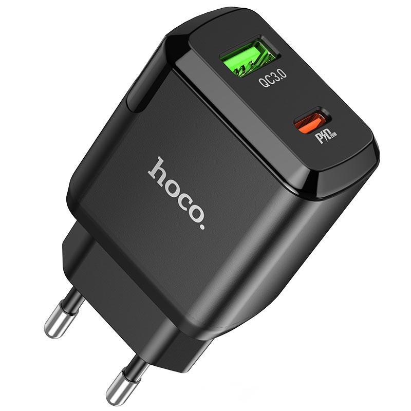 Φορτιστής Ταξιδίου Hoco N5 Favor με 2 Εξόδους Φόρτισης USB Quick Charge 18W και USB-C PD 20W 5V 3.0A Μαύρος