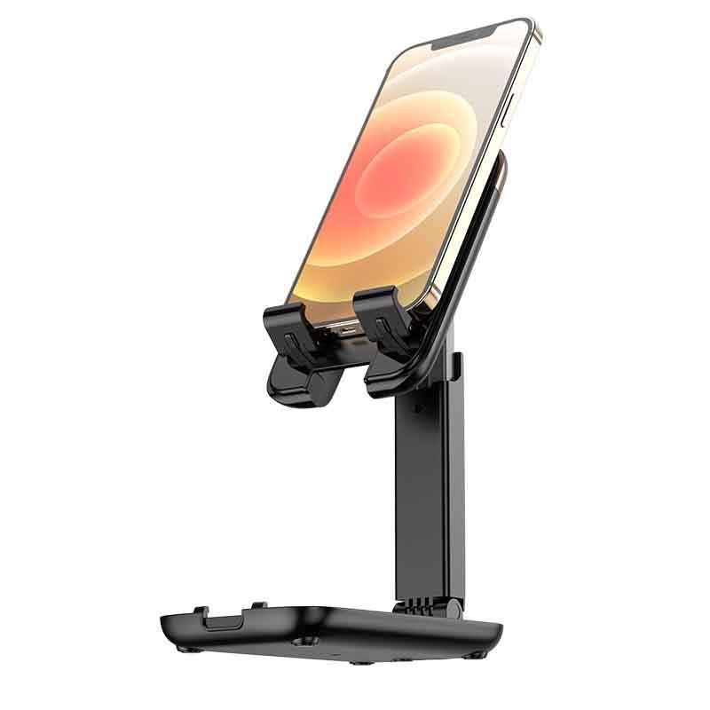"""Βάση Στήριξης Επιτραπέζια Hoco S28 Dawn για συσκευές 4.7""""-14"""" με Πτυσσόμενη Λειτουργία Μαύρη"""