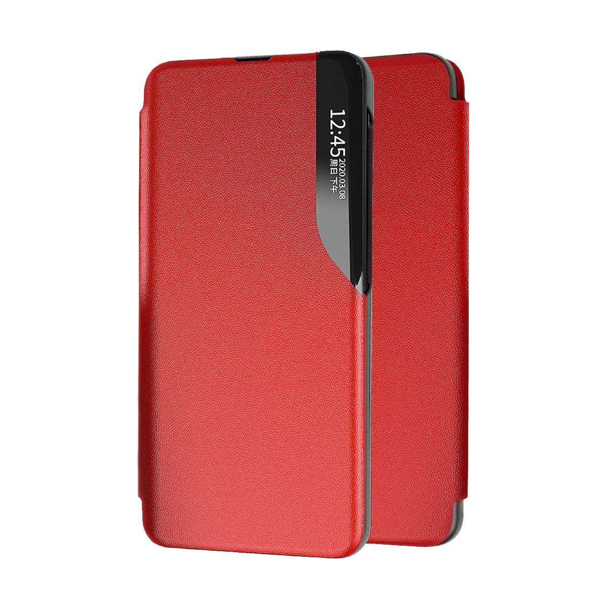 Θήκη Book Ancus Smart Flip για Xiaomi Redmi Note 9T 5G TPU Κόκκινο