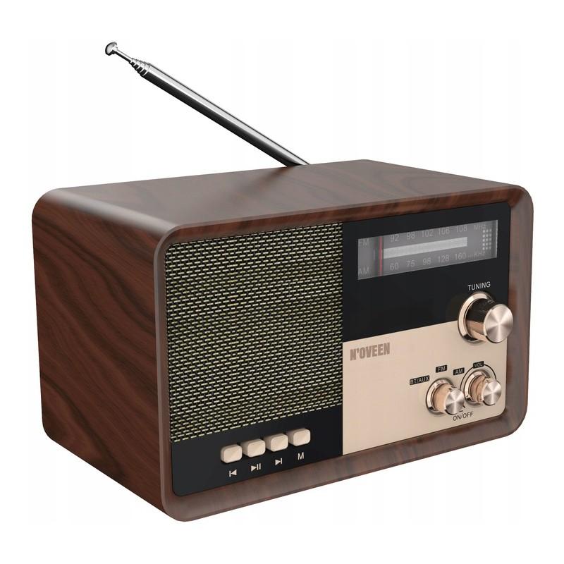 Φορητό Ραδιόφωνο N'oveen PR951 3.7V 2200mAh με Bluetooth, Υποδοχή USB/micro SD/Aux-in και Τροφοδοσία Ρεύματος/ Μπαταρίας Καφέ