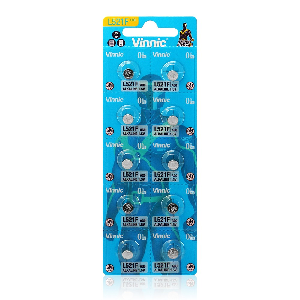 Buttoncell Vinnic L521F AG1 LR60 Τεμ. 10 με Διάτρητη Συσκευασία 1.5V