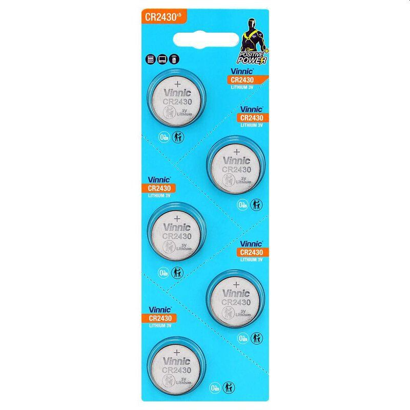 Buttoncell Vinnic CR2430 3V Τεμ. 5 με Διάτρητη Συσκευασία