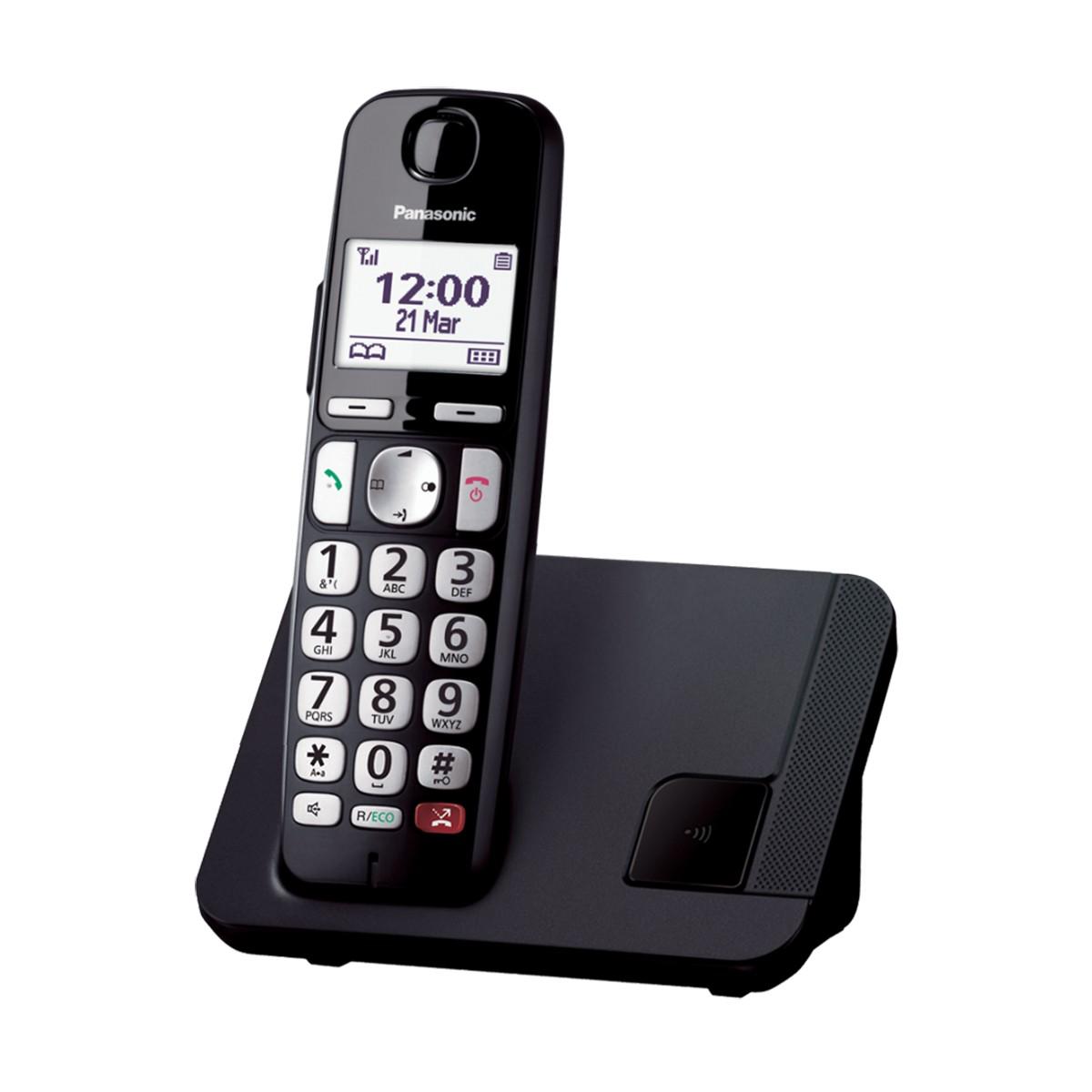 Ασύρματο Ψηφιακό Τηλέφωνο Panasonic KX-TGE250JTB με Αποκλεισμό Κλήσεων και Υποδοχή Hands Free 2.5mm Μαύρο